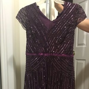 Dark Purple Mother of the Bride Sequined Gown